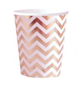 Copo de papel - Chevron Rose Gold (10 unidades)