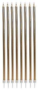 Vela longa - Dourada (8 velas com pezinhos)
