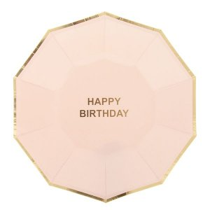 Prato de papel Nude/Dourado - Happy Birthday (10 un)