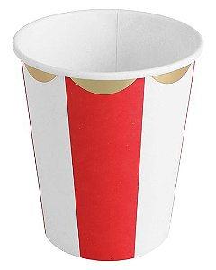 Copo de papel - Vermelho/Branco/Dourado (10 unidades)