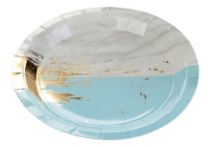 Prato de papel - Mármore Azul e Dourado (10 un)