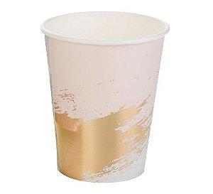 Copo de papel - Mármore Rosa e Dourado (10 unidades)