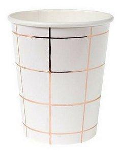 Copo branco - Grid Rose Gold (10 unidades)