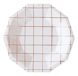 Prato branco - Grid Rose Gold (10 un)