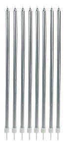 Vela longa - Prata (8 velas com pezinhos)