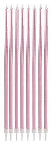 Vela longa - Rosa claro (8 velas com pezinhos)
