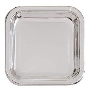 Prato de papel - Prata (8 unidades - 18 cm)