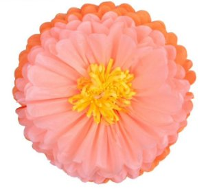 Flores de Papel 30 cm - Laranja e Salmão (3 unidades - Desmontadas)