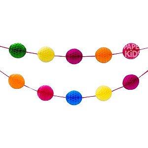 Guirlanda colmeia - Mix de Cores (14 bolas de papel)