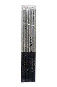 Vela palito metalizada - Prata (14 cm - 6 unidades)