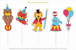 Tag decorativa para docinhos/cupcakes - festa CIRCO (10 unidades)