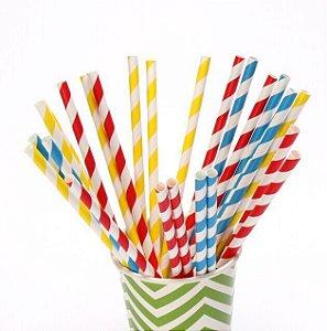 Canudo de papel - Cores e estampas sortidas (20 unidades)