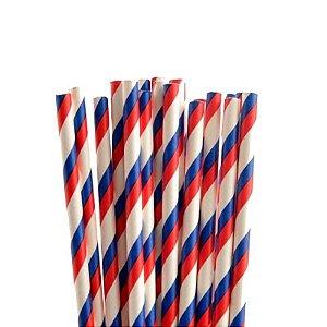 Canudo de papel listrado Vermelho/Azul - 20 unidades