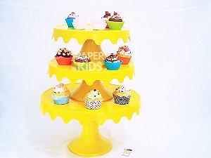 BOLEIRAS DESMONTÁVEIS - Kit com 3 suportes de bolo / diferentes alturas 7 peças