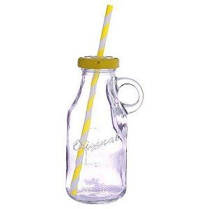 Garrafinha de vidro com alça e canudo - tampa amarela (250ml)