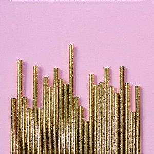Canudo de papel dourado - 20 unidades