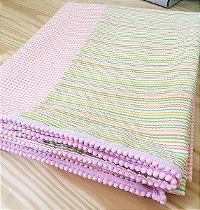 Toalha de festa infantil (com pompom) - Listras 4 cores