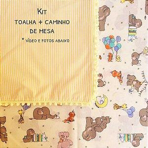 Kit toalha de mesa festa família elefantinhos + caminho (com pompom)