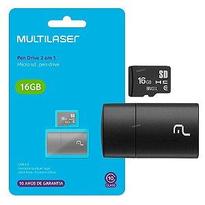 Cartão de Memoria 16gb 2x1 Multilaser MC162