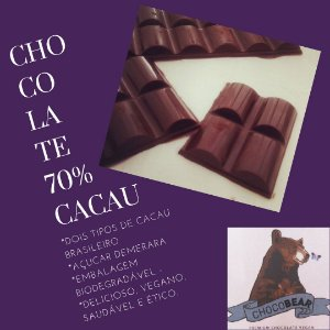 Barra de Chocolate 70% Cacau 80g - ChocoBear