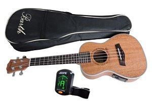 Ukulele Concert Barth Guitars Eletrico + Capa Bag + Afinador Aroma mod. AT-01A