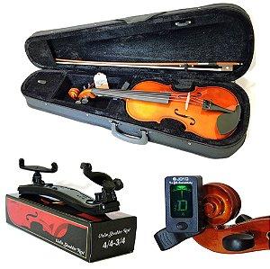 Kit Violino Barth Violin Nt 4/4 com Estojo (BK), Arco,Breu + Espaleira + Afinador Joyo