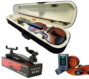 Kit Violino Barth Violin Old (envelhecido) 4/4 com Estojo, Arco,Breu + Espaleira Shoulder Rest + Afinador Joyo