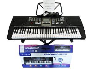 Teclado Musical Hk2106 - Arranjador 61 Teclas + Suporte Pedestal + Fonte Bivolt  + Suporte Partitura