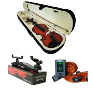 Kit Violino Barth Nt 4/4 com Estojo (CR), Arco,Breu + Espaleira Shoulder Rest + Afinador