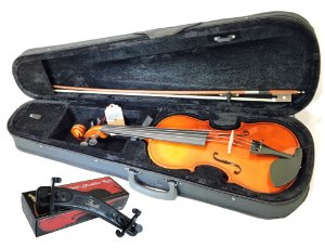 Kit Violino Barth Violin Nt 4/4 com Estojo (BK), Arco , Breu + Espaleira Shoulder Rest