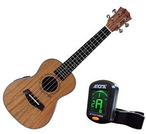 Ukulele Concert Barth Guitars Eletro Acústico (eletrico) Natural - EQ + Afinador Cromático Tuner Aroma mod. AT01A
