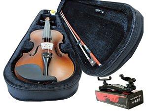 Kit Violino Barth Violin Old (envelhecido) 4/4 com Estojo  BK, Arco,Breu + Espaleira Shoulder Rest