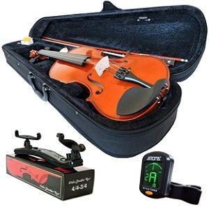 Kit Violino Barth  Nt 4/4 - Tampo Solido com Estojo Bk + Arco + Breu + Afinador + Espaleira