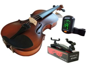Kit Violino Canhoto Barth Violin 4/4 Old Envelhecido + Arco + Breu + Espaleira Shoulder Rest