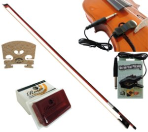 Kit Violino Com Captador Piezo + Arco Crina Animal + Breu Rosin Grande + Cavalete Maple