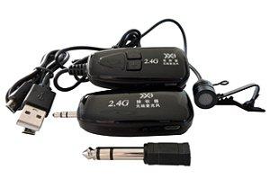 Microfone p/ Voz e Instrumentos Musicais Wireless sem Fio Bluetooth 2.4G com Transmissor e Receptor
