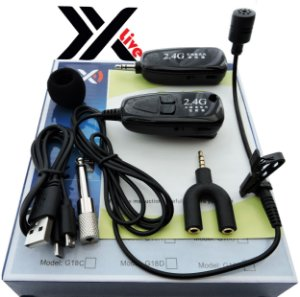 Microfone sem Fio Wireless 2.4G XXLive - Transmissor e Receptor para Youtubers, Shows, Palestras, Academias, Escolas - G18LJ