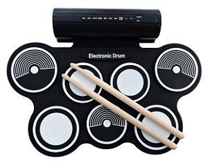 Bateria Eletrônica MD759 Roll Up Konix - Kit com Fonte + Baquetas + Pedais Bumbo e Chimbal