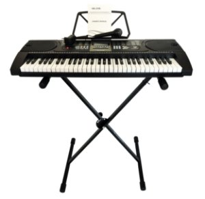 Teclado Musical Hk2106 - Arranjador 61 Teclas + Suporte Pedestal + Fonte Bivolt  + Suporte Partitura + Microfone