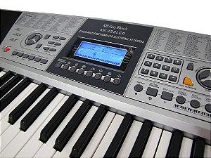 Teclado Musical Key Black Kb223 - visor Lcd 61 Teclas + Fonte + Suporte Partitura