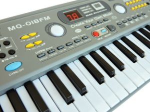 Teclado Infantil Musical 49 Teclas com Microfone e Fonte Bivolt - MQ-018FM