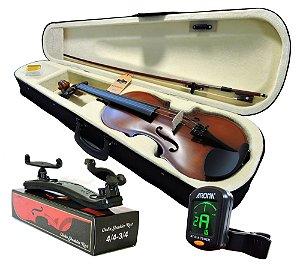 Kit Violino Barth Old (envelhecido) 4/4 com Estojo, Arco,Breu + Espaleira Shoulder Rest + Afinador