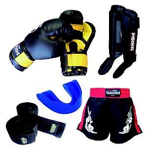 Kit Completo MuayThai com Luva Boxe + Caneleira + Shorts + Bandagem + bucal KTX20