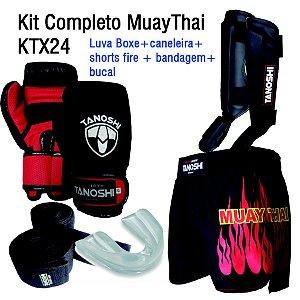 Kit Completo MuayThai com Luva Boxe + Caneleira + Shorts + Bandagem + bucal KTX24