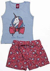 Conjunto Menina Regata e Shorts Com Laço