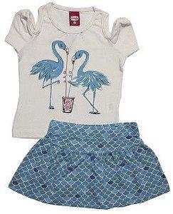 Conjunto Menina Saia e Blusa de Flamingo