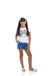 Conjunto Feminino Blusa Branca e Shorts