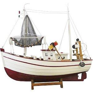 Barco Pesqueiro Branco e Vermelho BA-19