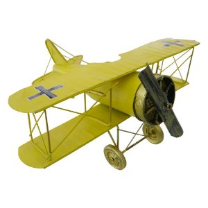 Avião Amarelo Grande em Metal CM-59