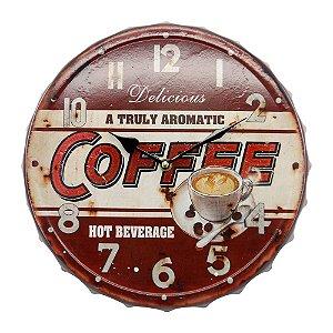 """Relógio Marrom """"Fresh Brewed Coffee"""" CW-08"""